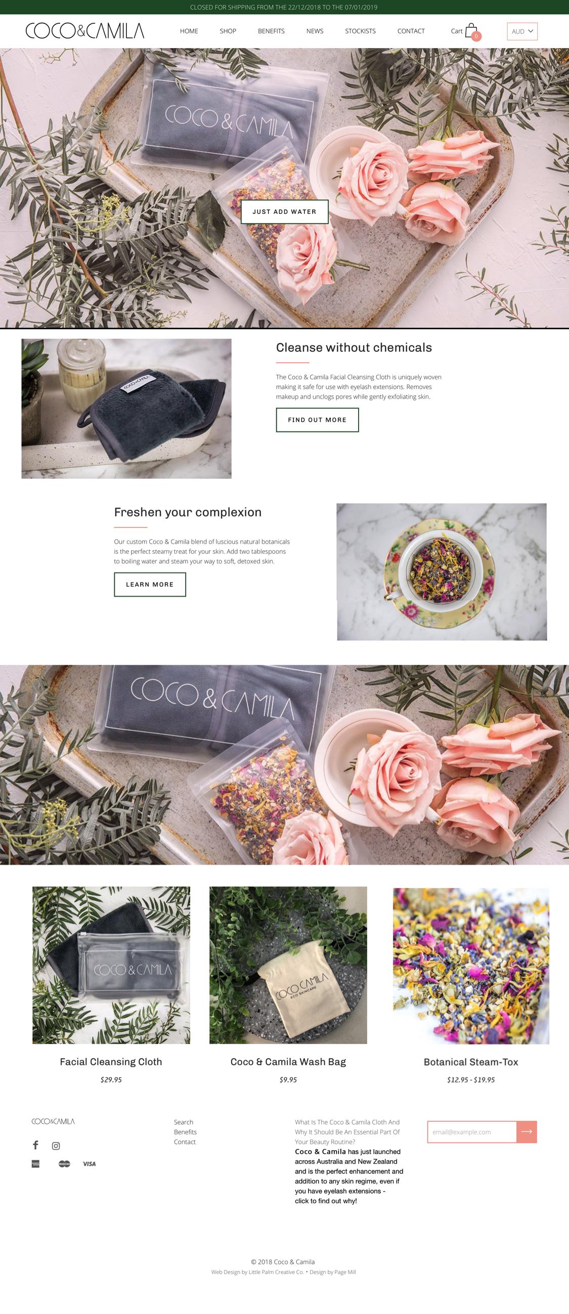 Coco & Camila Web Design Australian Skincare Products