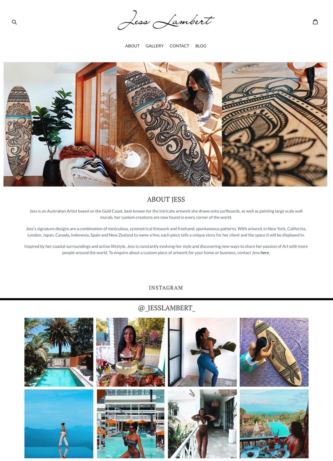 Jess Lambert Web Design Home Page www.jesslambert.com.au
