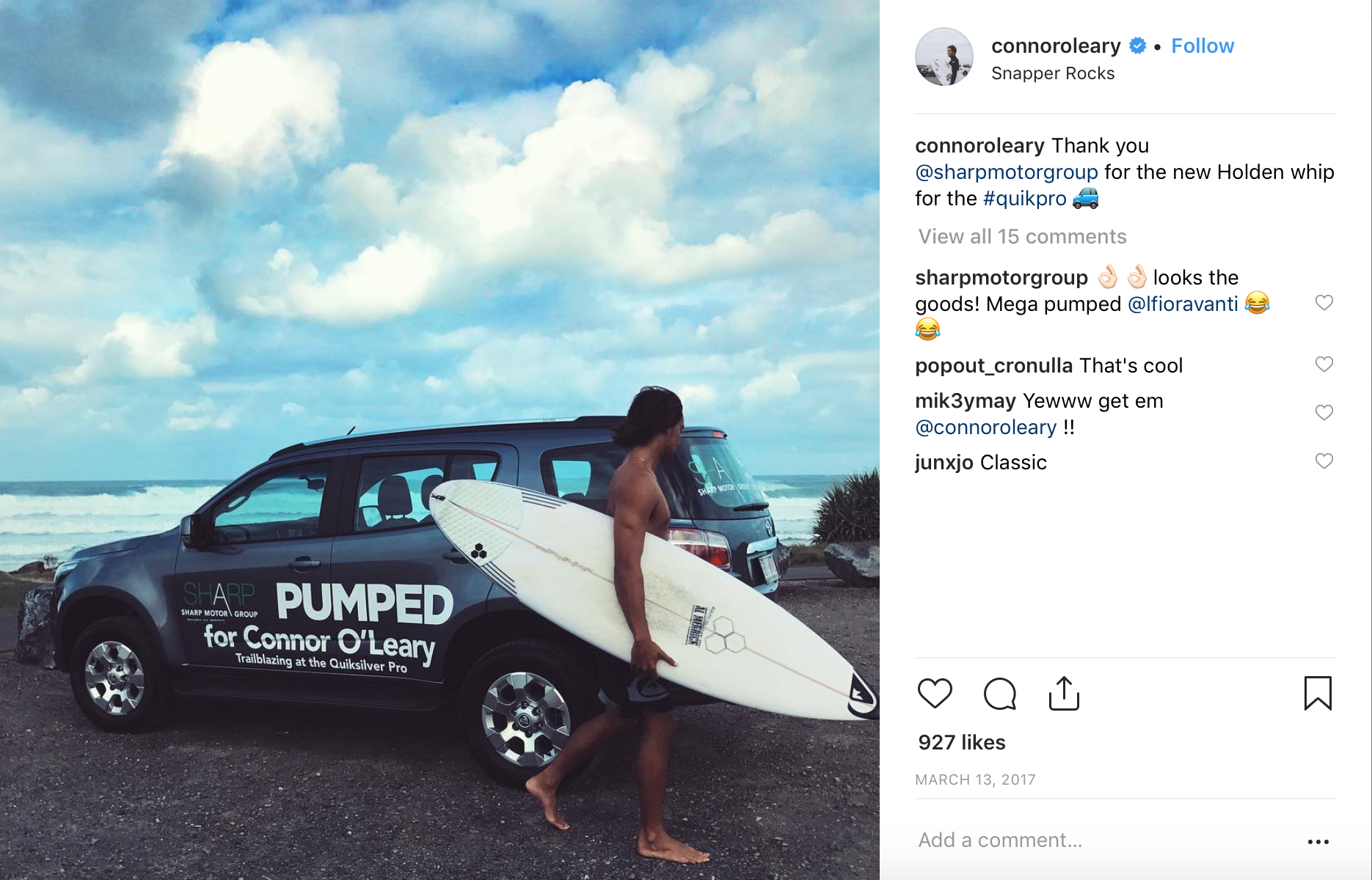 Connor OLeary Quiksilver Pro - Holden Trailblazer - Sharp Motor Group - Little Palm Creative