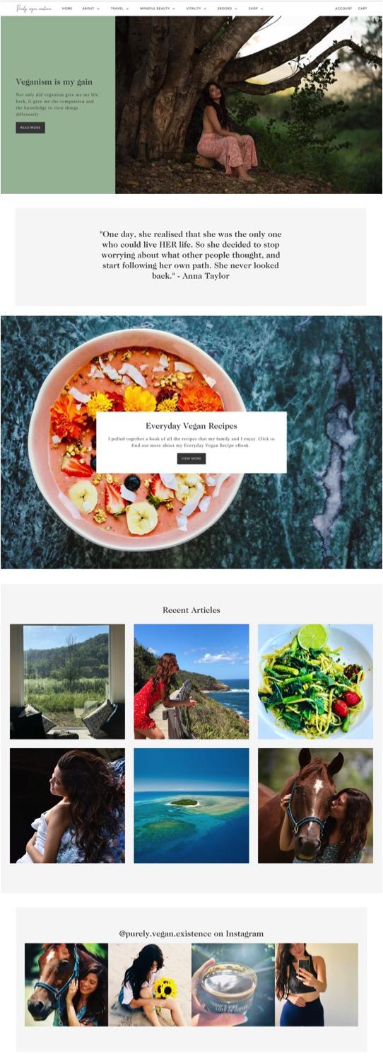 Web Design - Purely Vegan Existence - Web Design Portfolio Little Palm Creative Co. - Shopify Web Design Australia