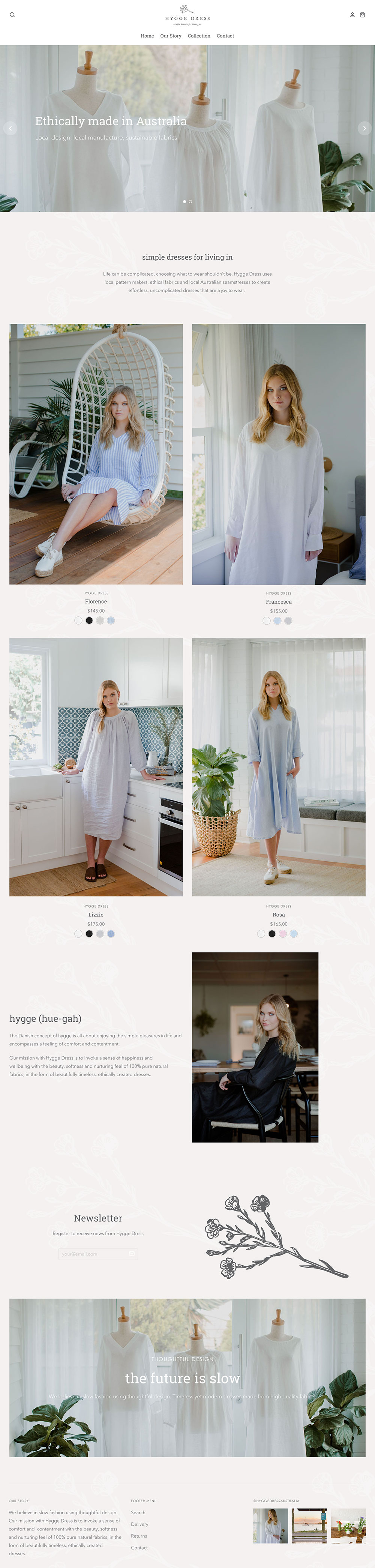 Hygge Dress Web Design Home Page - Shopify Web Design Little Palm Creative Gold Coast