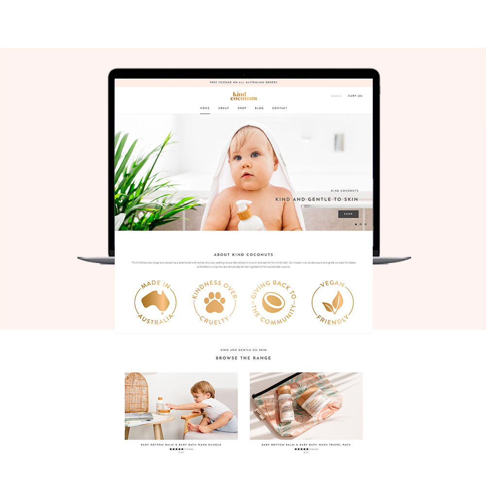 Kind Coconuts Website Mockup   Shopify Web Design by Little Palm Creative