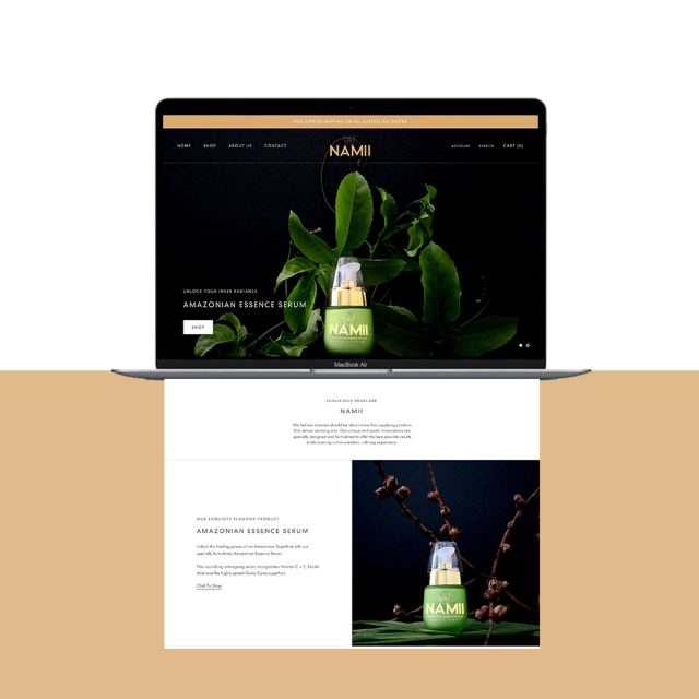 NAMII Shopify Website Design by Little Palm Creative