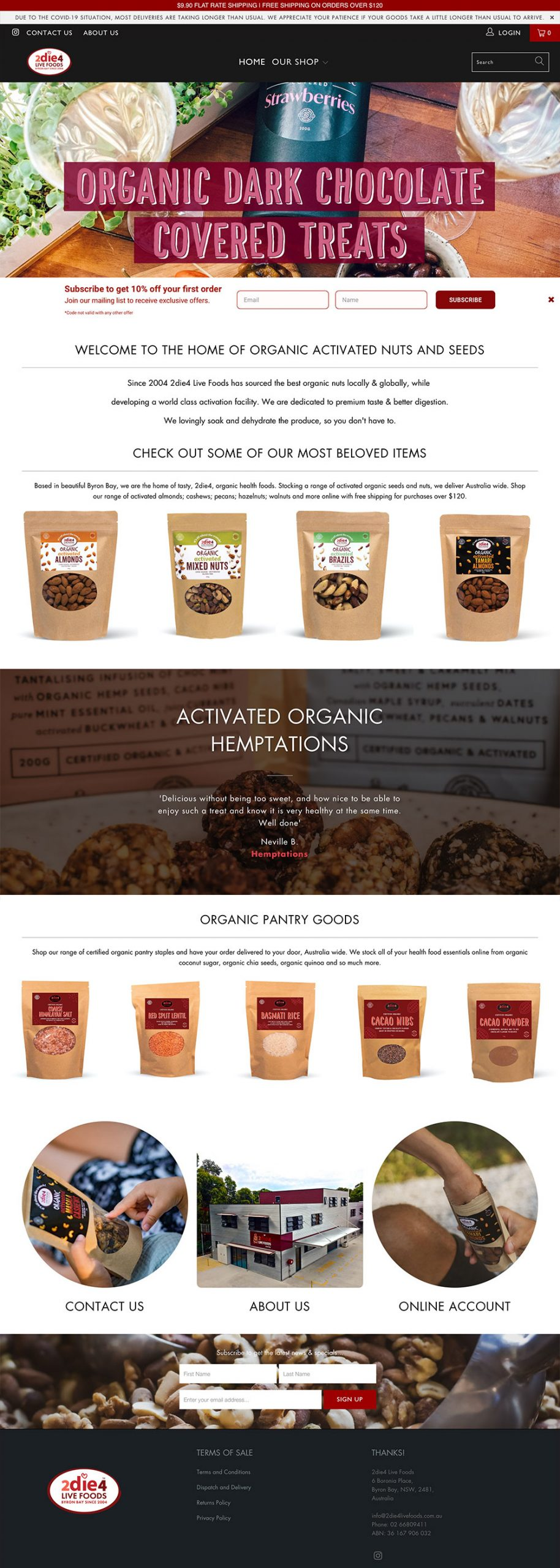 2die4 Live Foods Byron Bay | Before Website Refresh | Shopify Redesign by Little Palm Creative