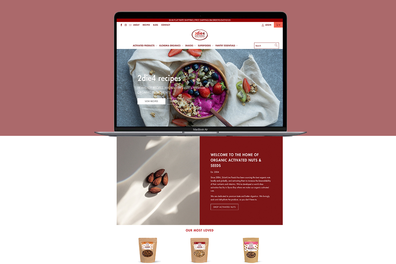 2die4 Live Foods Website Refresh Shopify Redesign Little Palm Creative