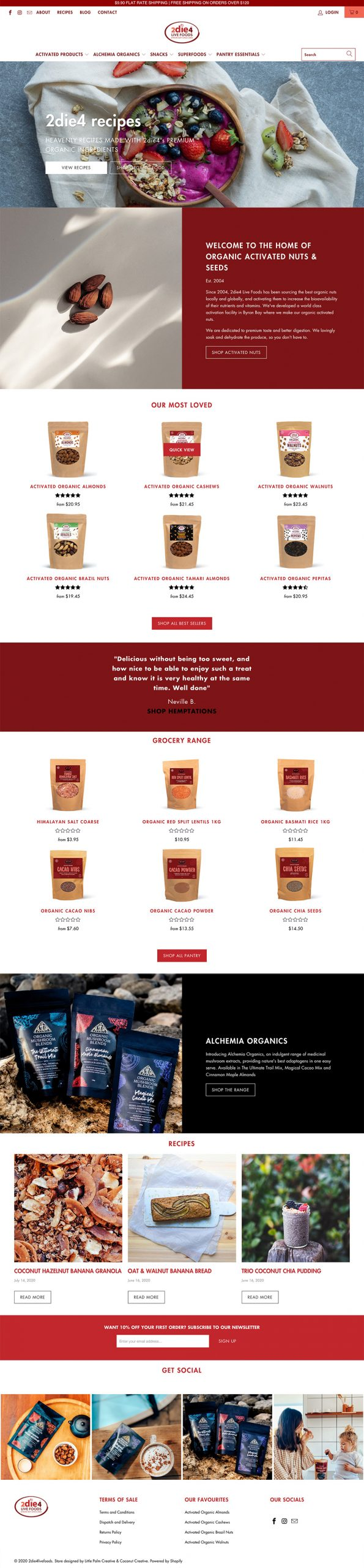 2die4 Live Foods Website Design After Refresh by Little Palm Creative| Shopify Website Redesign